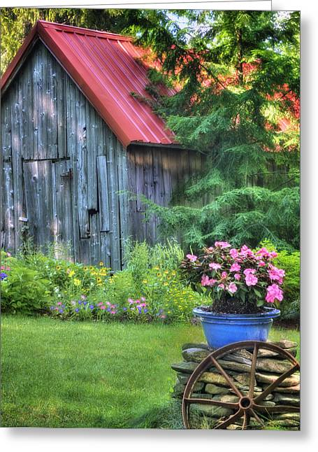The Country Cottage Garden  Greeting Card