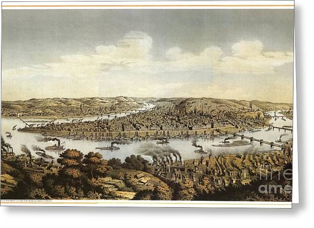 Lithograph Showing Bird's-eye View Of The City Of Pittsburgh Greeting Card by Celestial Images