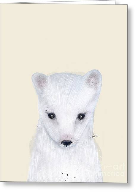 Greeting Card featuring the painting Little Arctic Fox by Bri B