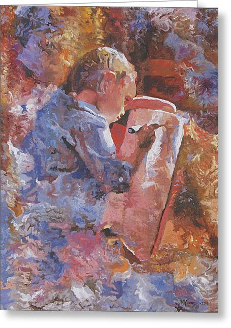 Little Artist Greeting Card by Kenneth Young