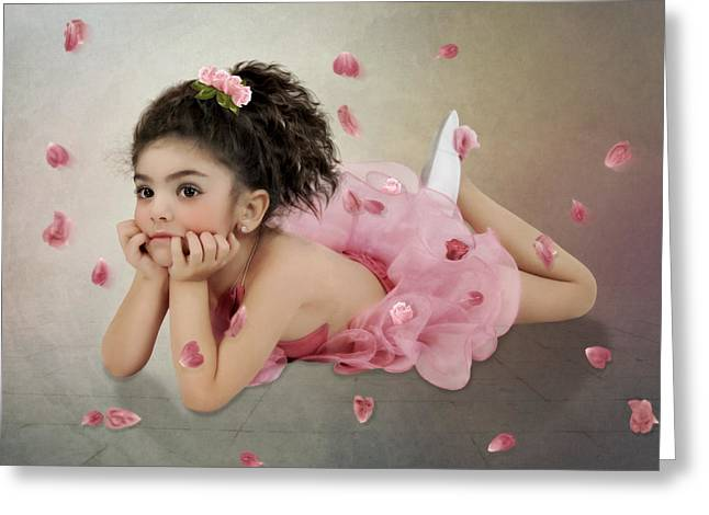 Little Ballerina In Pink Greeting Card by Margarita Nizharadze