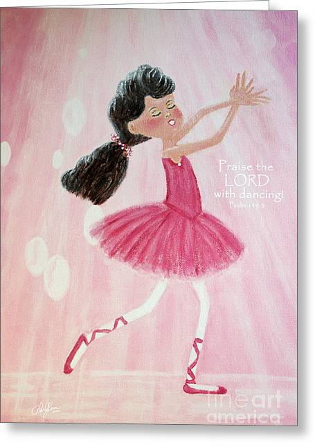 Little Ballerina With Bible Verse Greeting Card by Cheryl Rose