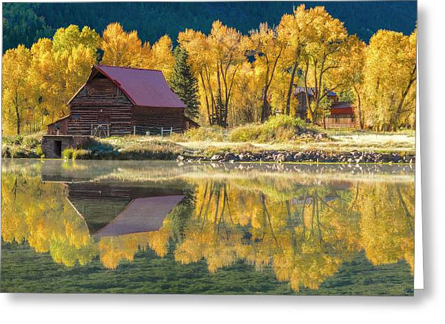 Little Barn By The Lake Greeting Card by Teri Virbickis