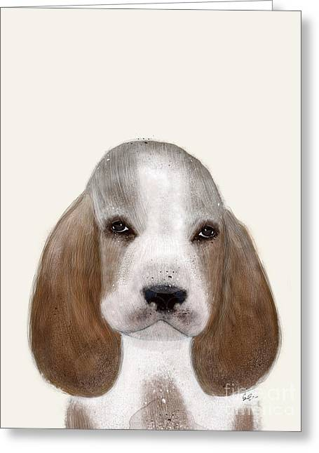 Greeting Card featuring the painting Little Basset Hound by Bri B