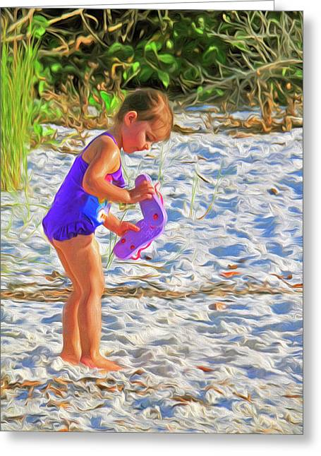 Little Beach Girl With Flip Flops Greeting Card