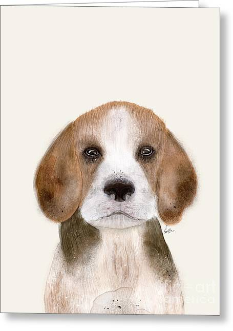 Greeting Card featuring the painting Little Beagle by Bri B