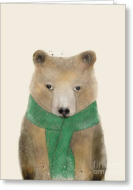 Greeting Card featuring the painting Little Bear Brown by Bri B