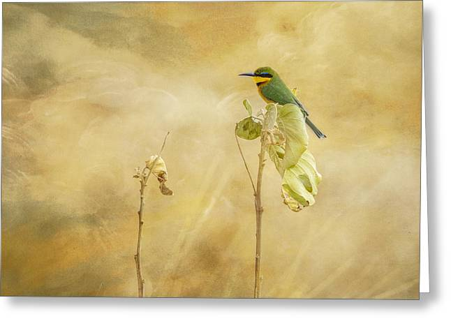 Greeting Card featuring the tapestry - textile Little Bee-eater by Kathy Adams Clark