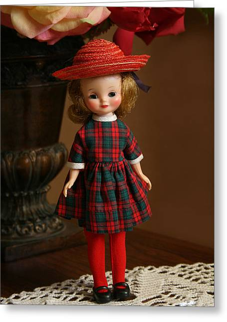Plaid Dress Greeting Cards - Little Betsy Greeting Card by Marna Edwards Flavell