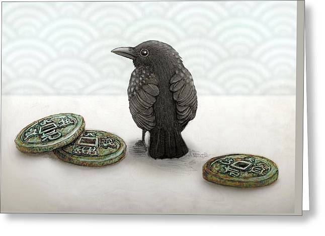 Little Bird And Coins Greeting Card