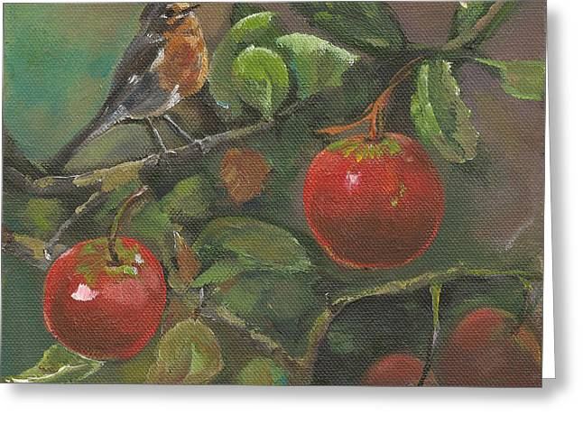 Little Bird In The Apple Tree Greeting Card