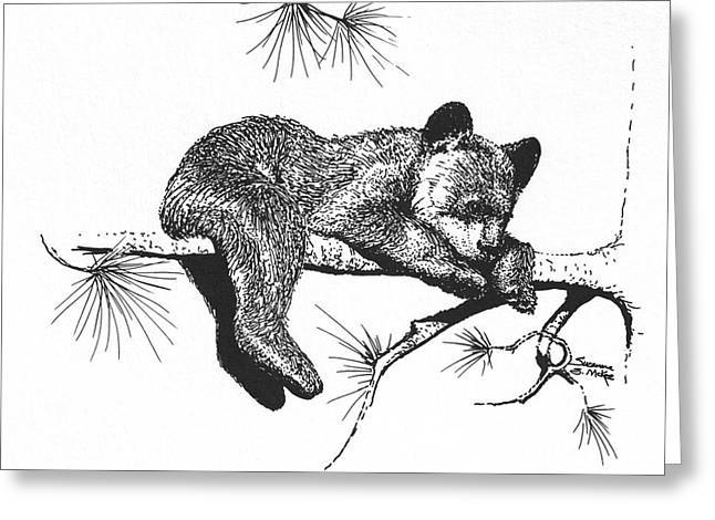 Little Black Bear Cub Greeting Card by Suzanne McKee