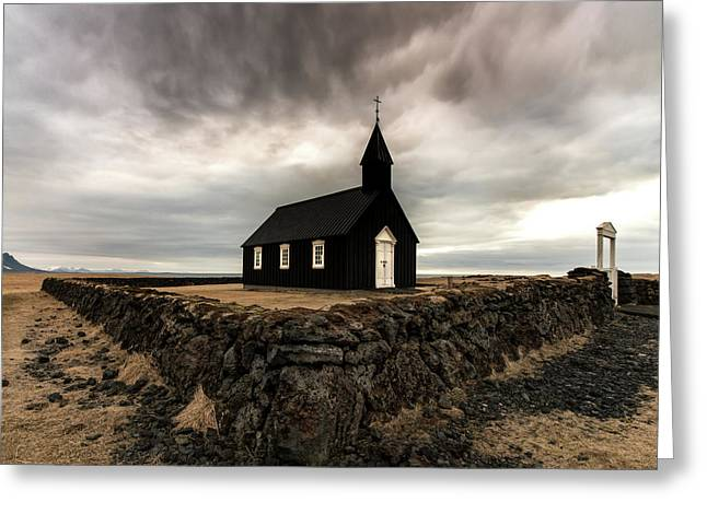Little Black Church Greeting Card by Larry Marshall