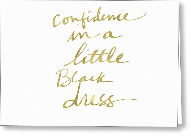 Little Black Dress Gold- Art By Linda Woods Greeting Card by Linda Woods