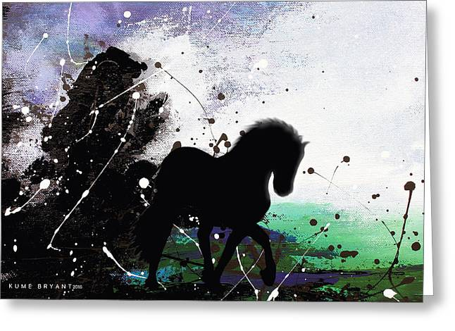 Little Black Horse Greeting Card by Kume Bryant