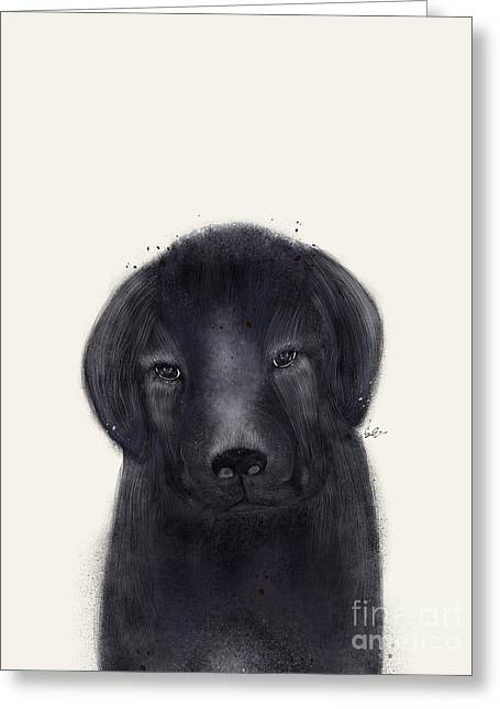 Greeting Card featuring the painting Little Black Labrador by Bri B