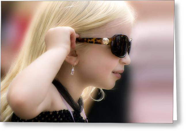 Little Blonde Glamour Girl Greeting Card by Brian Wallace