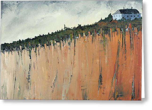 Little Blue House On The Cliff Greeting Card by Carolyn Doe