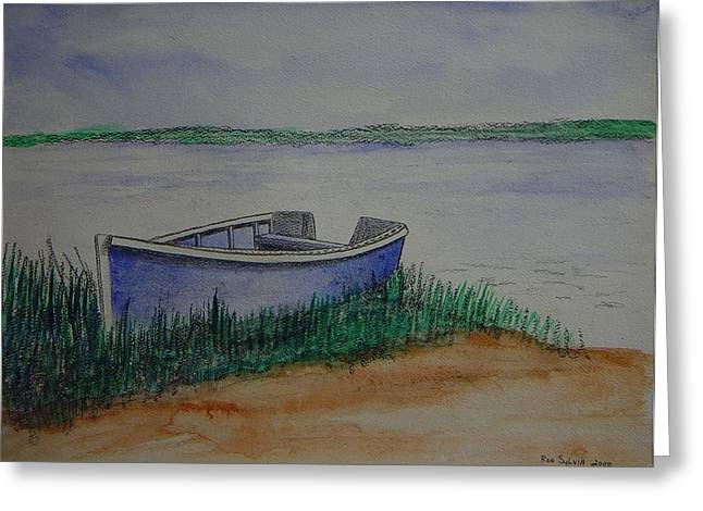 Little Blue Skiff Greeting Card by Ron Sylvia
