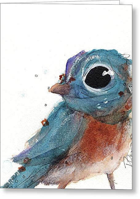 Greeting Card featuring the painting Little Bluebird by Dawn Derman