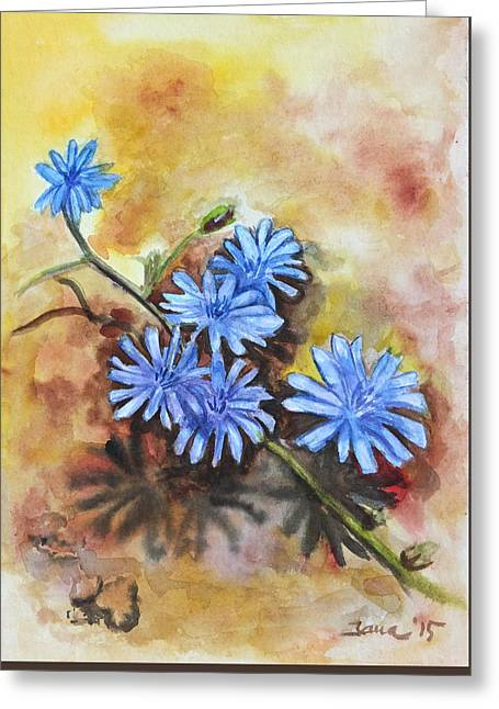 Little Blues Greeting Card by Jana Goode
