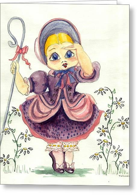 Little Bo Peep Greeting Card by Yvonne Ayoub