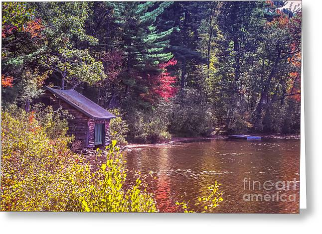 Little Boat House By The Lake Greeting Card