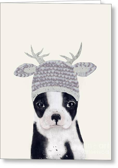 Greeting Card featuring the painting Little Boston Deer by Bri B