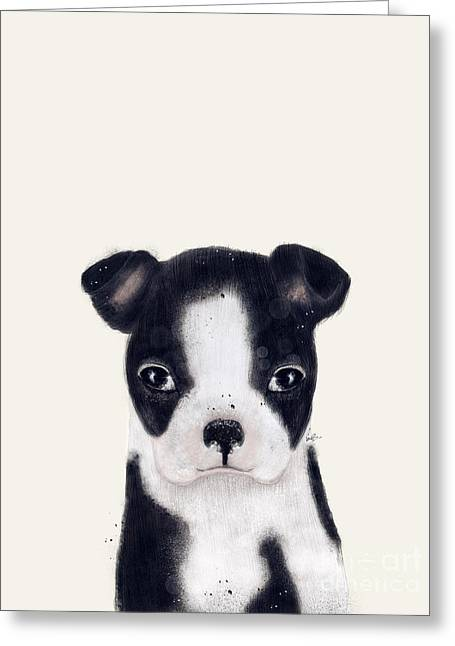 Greeting Card featuring the painting Little Boston Terrier by Bri B