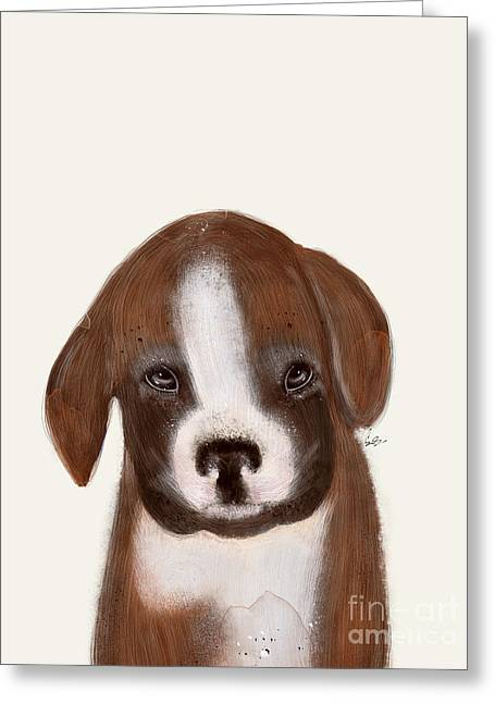 Greeting Card featuring the painting Little Boxer by Bri B