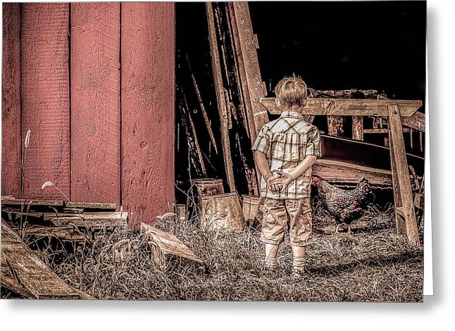 Little Boy And Rooster Greeting Card by Julie Palencia