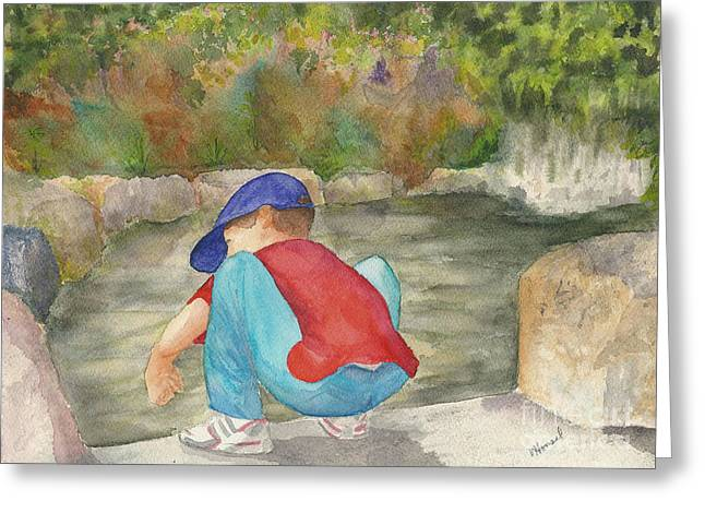 Little Boy At Japanese Garden Greeting Card