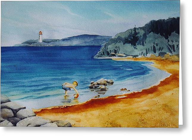 Little-boy-at-the-beach Greeting Card by Nancy Newman