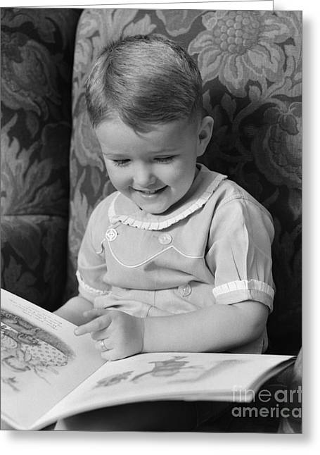 Little Boy Reading A Picture Book Greeting Card