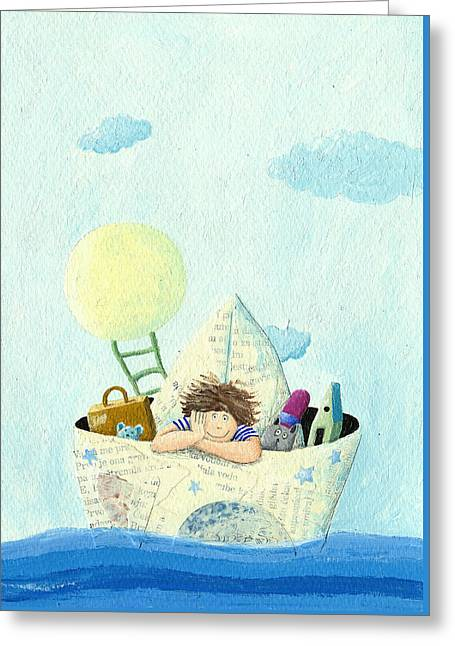 Little Boy Sailing In A Paper Boat Greeting Card by Hicham  Attalbi alami