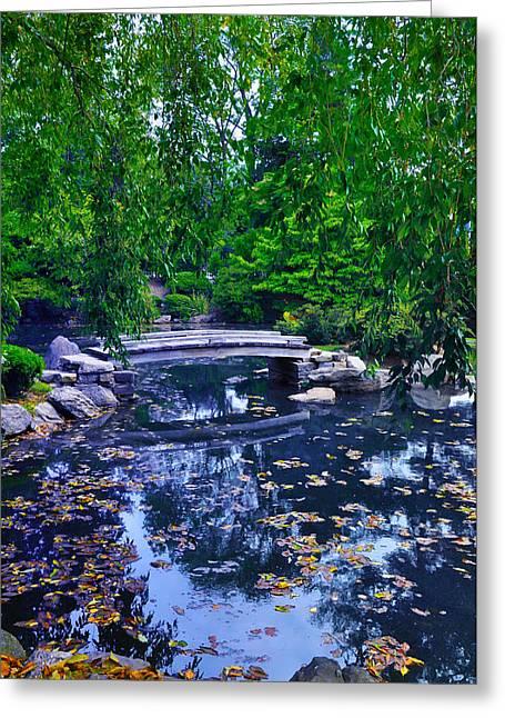Little Bridge - Japanese Garden Greeting Card by Bill Cannon