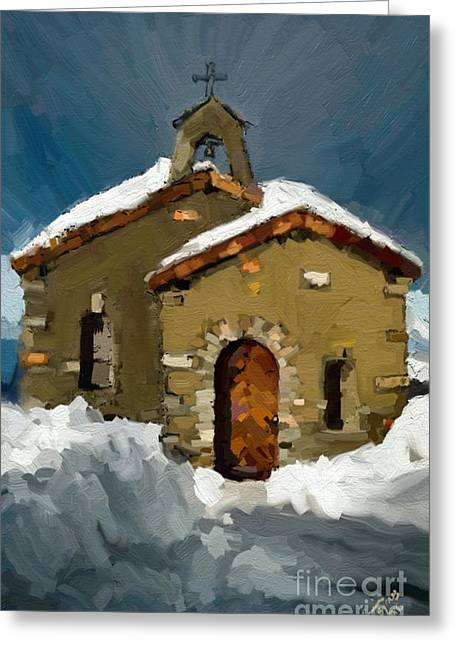 Little Brown Church Greeting Card by Carrie Joy Byrnes