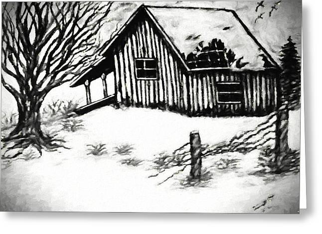 Little Cabin In The Wood Van Gogh Style Greeting Card by Debra Lynch