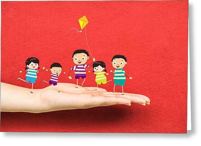 Little Children Kites On A Hand Greeting Card by Dai Trinh Huu