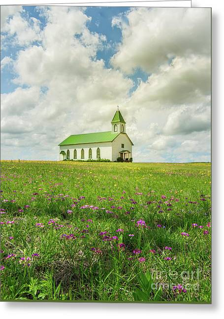 Little Church On Hill Of Wildflowers Greeting Card by Robert Frederick