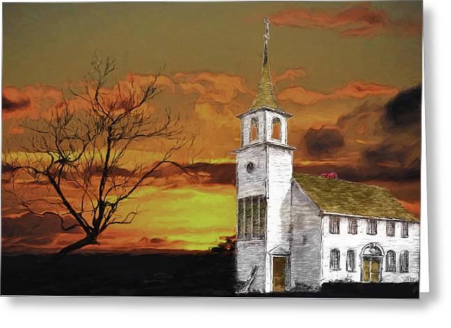 Little Church On The Prairie Greeting Card by John Haldane