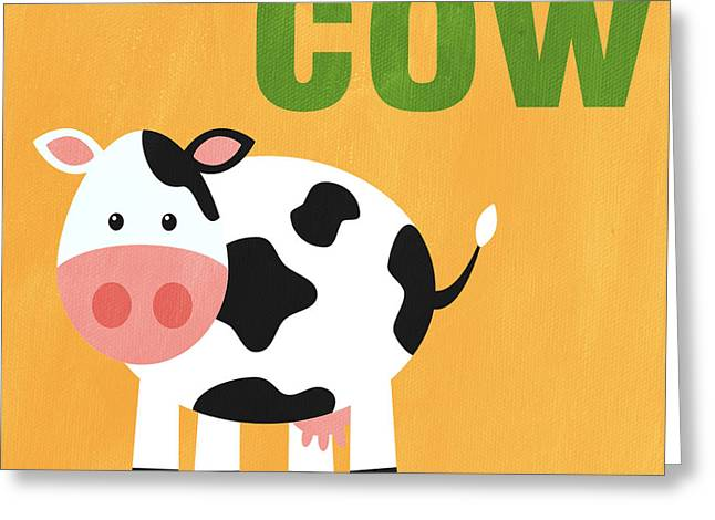 Kids Mixed Media Greeting Cards - Little Cow Greeting Card by Linda Woods