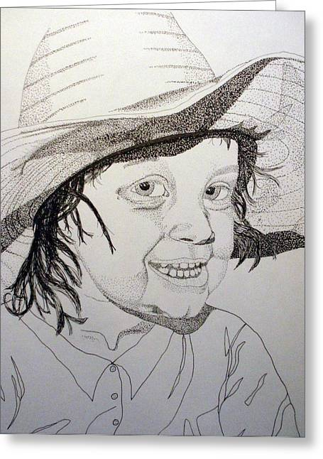 Little Cowgirl Greeting Card by Michael Runner