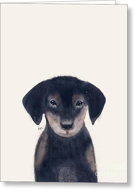Greeting Card featuring the painting Little Dachshund by Bri B