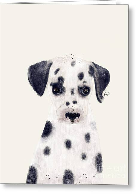 Greeting Card featuring the painting Little Dalmatian by Bri B
