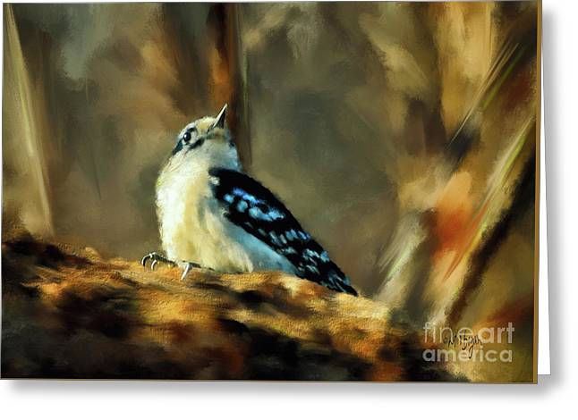 Little Downy Woodpecker In The Woods Greeting Card by Lois Bryan