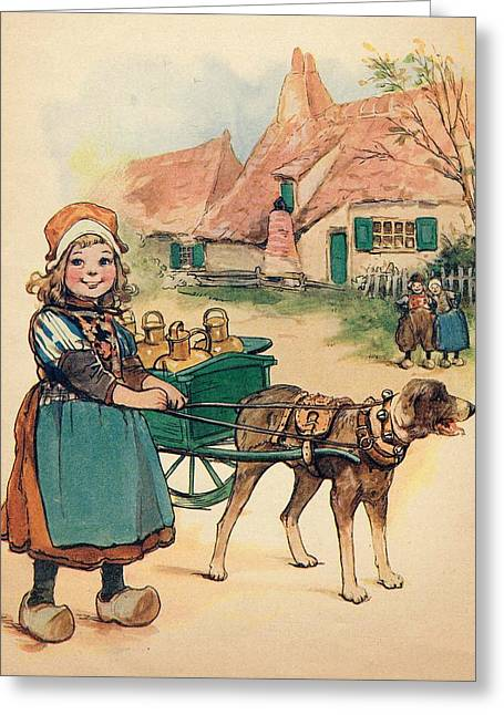 Little Dutch Girl With Milk Wagon Greeting Card