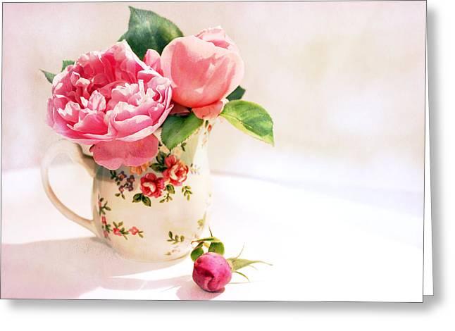 Little Flowered Jug Greeting Card by Margaret Hormann Bfa
