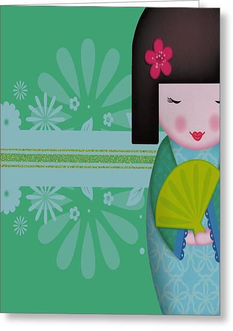 Little Geisha Blue Greeting Card by Jannina Ortiz
