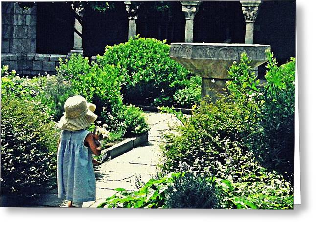 Little Girl At The Cloisters Greeting Card